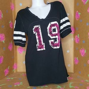 Tops - Distressed V Neck Football Style Style Shirt XL